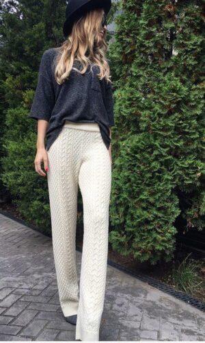 Pantaloni tricotati fibre naturale Fewpants/Crem