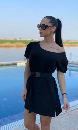 Rochie-tricou dreapta neagră din bumbac