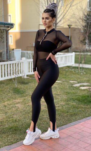 OFERTA Body tul cu top scurt si colant negru