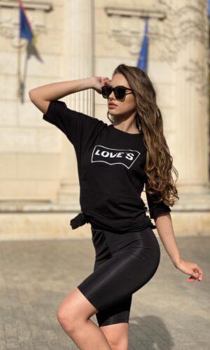 Oferta tricou lung din bumbac Love și colant scurt