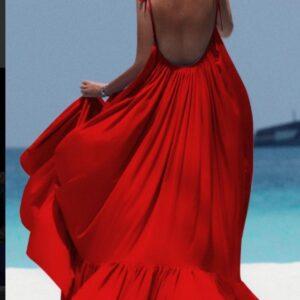 Rochie lunga bumbac cu spatele gol